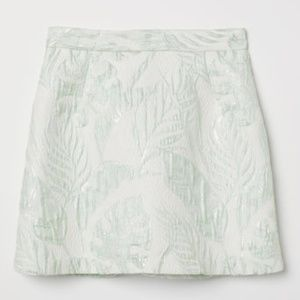 Green and White Jacquard-weave Floral Skirt